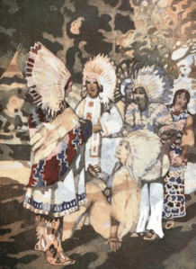 George Sheringham illustration from Canadian Wonder Tales, 1918. Indians in headdresses.