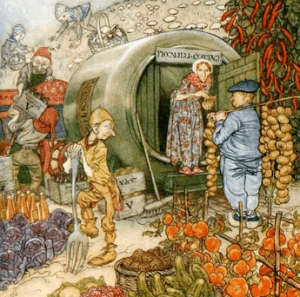Arthur Rackham illustration, English Fairy Tales, 1918. Man selling vegetables to woman in round hut.