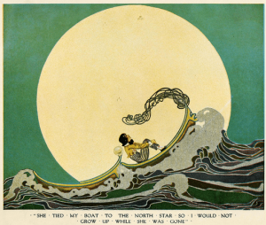 Illustration from Dream Boats..., Dugald Steward Walker, 1918. Man in boat on cresting ocean wave in front of giant star.