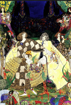 Harry Clarke illustration, Fairy Tales by Hans Christian Andersen, 1916. Women in gowns at party.