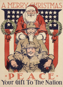 U.S. Food Administration poster, 1918. Santa with soldiers. A Merry Christmas. Peace, Your Gift to the Nation.