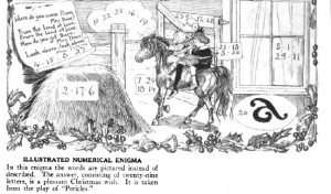 Illustrated numerical enigma from St. Nicholas magazine, December 1918.