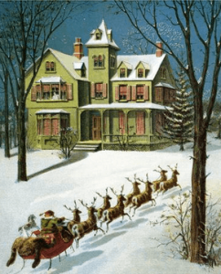 Williams Roger Snow lithorgraph for The Night Before Christmas, 1918, showing Santa's sleigh in yard of large home.