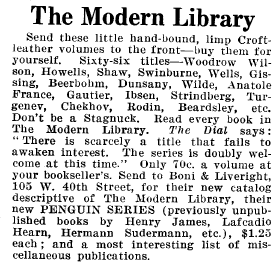 1919 Modern Library advertisement reading in part Don't be a Stagnuck. Read every book in The Modern Library.