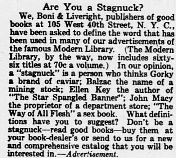 1918 Boni and Liverright advertisement headlined Are You a Stagnuck?
