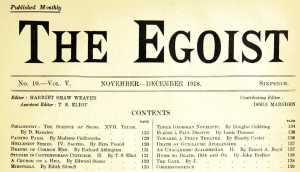 The Egoist banner and table of contents, November-December 1918.