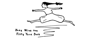 Illustration from Daddy-Long-Legs by Jean Webster captioned Judy Wins the Fifty Yard Dash.