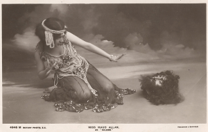 Postcard of Maud Allan as Salome, ca. 1906, showing Salomé recoiling from severed head.