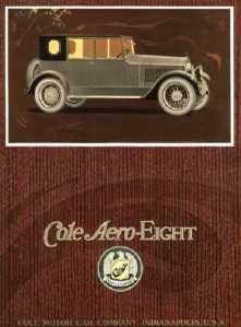 Advertisement for Cole Aero-Eight with picture of car, 1918.