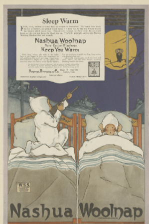 1918 Nashua Woolnap ad showing child in bed aiming rifle at owl.