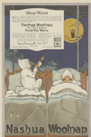1918 Nashua Woolnap ad with child in bed aiming rifle at owl.