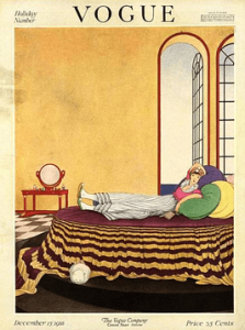 Helen Dryden Vogue cover, December 15, 1918. Woman reclining on bed with colorful cushions in front of open window.