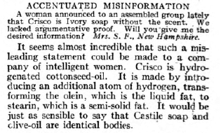 Q and A from Dr. Wiley's Question Box, woman asking if Crisco is Ivory soap without the scent, July 1918.