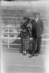 Photograph of Alan Dale and his daughter on a ship, 1900.