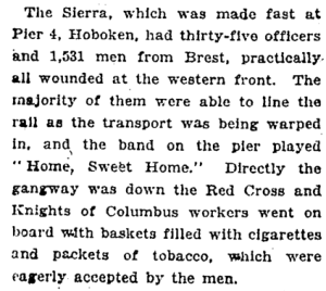 December 10, 1918 New York Times story about Red Cross workers giving baskets of ciagrettes to returning soldiers.
