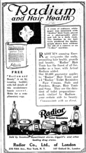 1918 ad for Radioc with headline Radium and Hair Health.