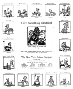 1918 ad for New York Edison titled Give Something Electric with cartoons of people using electrical appliances.