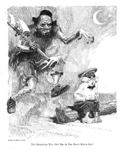 Judge cartoon, December 7, 1918 showing monstrous man about to attack little boy with caption about Bolsheviki.