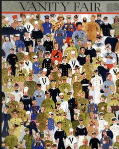 Vanity Fair December 1918 cover, colorful cartoon of crowd of happy soldiers.