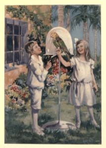 Illustration from Twin Travellers in South America by Mary H. Wade. Boy and girl outside house with parrot.