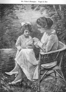 Illustration from December 1918 Sunset magazine. Woman knitting outdoros with girl standing next to her.