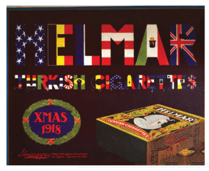 1918 Helmar cigarette ad saying Helmar Turkish cigarettes with each letter colored with a country's flag.