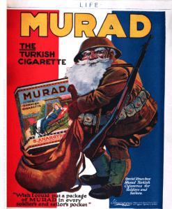 1918 Murad cigarette ad showing Santa with giant box of Murads in his sack.