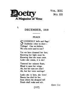 First page of Poetry Magazine, December 1918, with poem titled Peace.