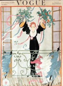 Vogue 1918 Christmas Gifts number cover. Woman on Juliet balcony waving garlands.