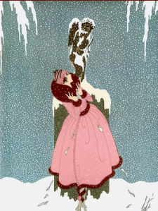 Erté December 1918 Harper's Bazar cover illustration, woman in pink coat in snow.