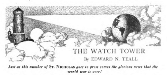 Header in December 1918 St. Nicholas with sentence announcing the war is over.