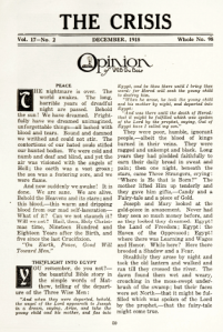 Editorial page of The Crisis, December 1918, with editorial titled Peace.