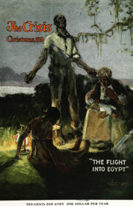 The Crisis December 1918 cover. William Edouard Scott painting The Flight into Egypt. Black family next to river with lamp.