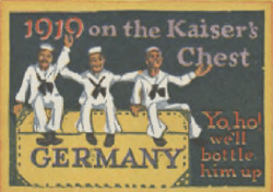 Sticker reading 1919 on the Kaiser's Chest with picture of happy sailors sitting on a chest.