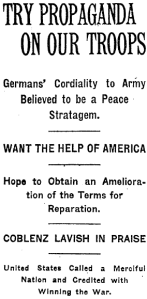 December 15, 1918 New York Times headline reading in part Germans' Cordiality to Army Believed to be a Peace Strategem.
