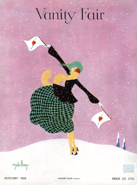 January 1918 Vanity Fair cover by Gordon Conway. Woman in snow holding semaphore flags with hearts on them.