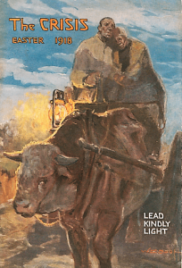 April 1918 Crisis cover, William Edouard Scott painting Lead Kindly Light. Man and woman riding ox cart with lamp.