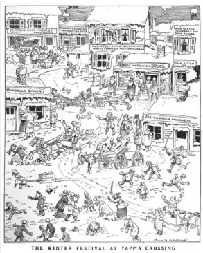Johnny Gruelle cartoon in Life magazine titled The Winter Festival at Yapp's Crossing.