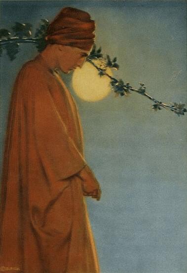 Tinted photograph of poet George Sterling, Rubaiyat illustration.