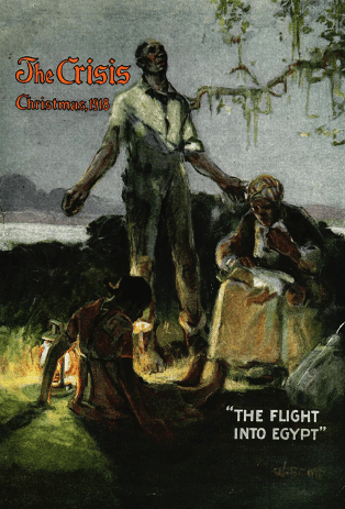 The Crisis cover, December 1918. William Edouard Smith painting The Flight into Egypt. African-American family in field.