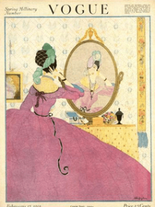 February 1918 Vogue cover by Helen Dryden. Illustration of woman in pink hoop-skirt dress looking in mirror.