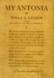Cover of My Antonia by Willa Cather, first edition, 1918.