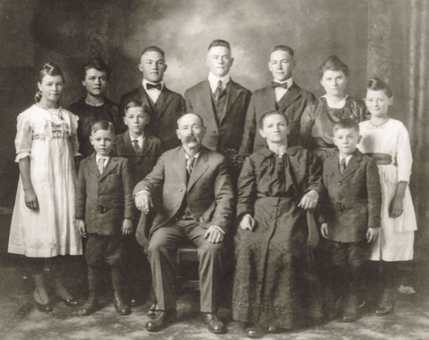 Portrait of Annie Sadilek Pavelka, the real-life My Antonia, and her family.