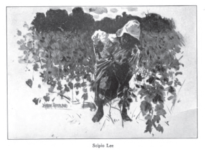 Illustration by Harry Roseland from Hazel by Mary White Ovington, captioned Scipio Lee. African-American boy in a field.