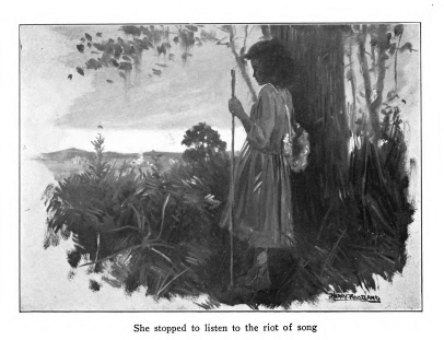 Harry Roseland illustration in Hazel by Mary White Ovington, captioned She stopped to listen to the riot of song.