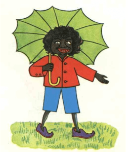 Cover of The Story of Little Black Sambo by Helen Bannerman, 1900. Cartoon of dark-skinned boy with umbrella.