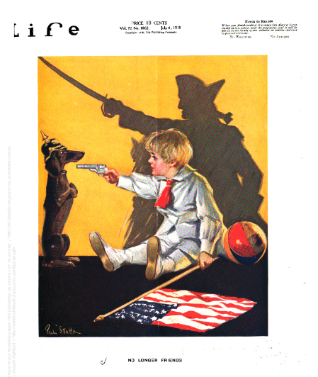 Life magazine cover, July 4, 1918, boy pointing toy gun at dachshund wearing German helmet, shadow of soldier with sword.