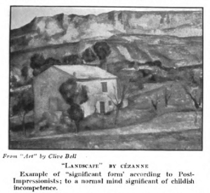 Photograph of Cezanne landscape in Art World magazine, January 1918, with caption reading in part, to a normal mind significant of childish incompetence.
