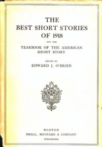 Cover of The Best Short Stories of 1918, edited by Edward J. O'Brien.