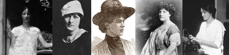 Banner with pictures of Helen Bogan, Helen Dryden, Josephine Turpin Washington, Mary Roberts Rinehart, and Susan Glaspell.